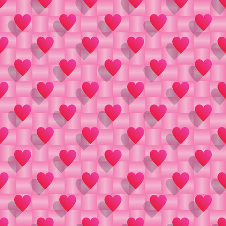 Pink hearts with shadows over pink seamless background.Vector illustration.
