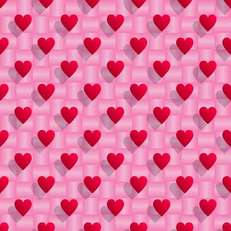 Red hearts with shadows over pink seamless background.Vector illustration. Stock Illustratie