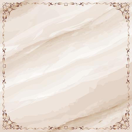 Vintage copper ornate border frame over marble background. Vector illustration. Stock fotó