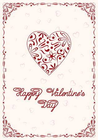 Happy Valentines Day greeting card template.