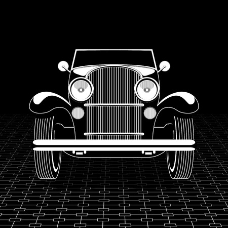 Retro car poster template. Stock Illustratie