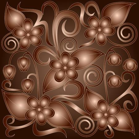 Floral metal background. Illusztráció