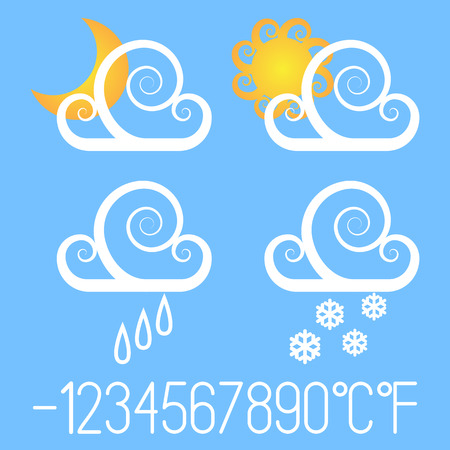 Fancy weather icons. Иллюстрация