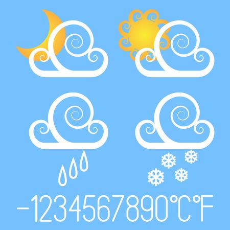 Fancy weather icons. Illustration