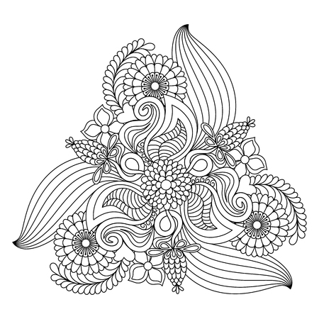 Abstract floral coloring page template. Vector illustration.