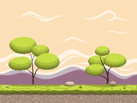 Beautiful Seamless cartoon game background. Illusztráció