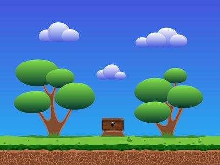 Seamless smooth cartoon game background. Illusztráció