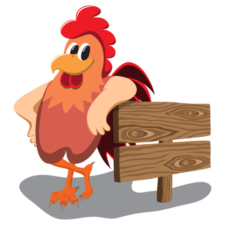 Isolated cartoon rooster over white background. Stock Illustratie