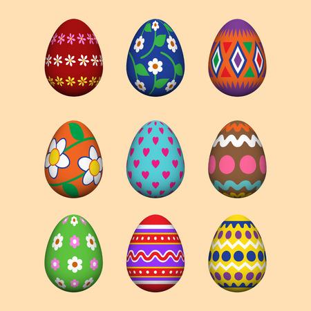 Artistic Easter eggs set. Illusztráció