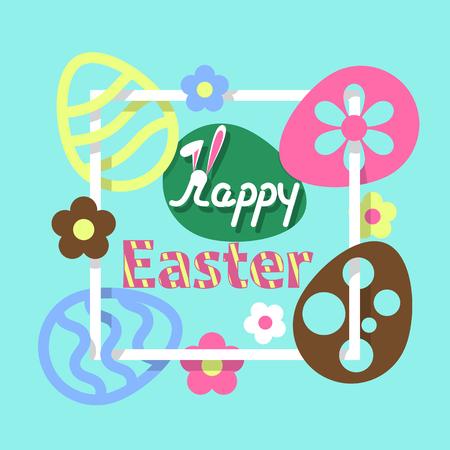 Colorful Easter flat background. Illusztráció