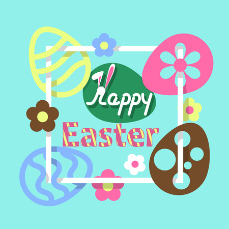 Colorful Easter flat background. Stock Illustratie