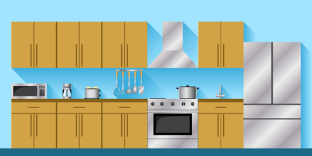 Kitchen with appliances and furniture. Flat style vector illustration with shadows.