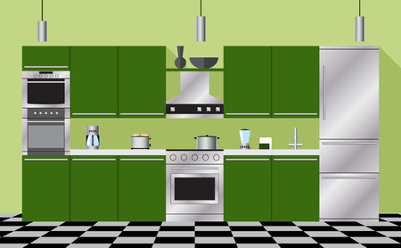 Kitchen furniture and appliances green..