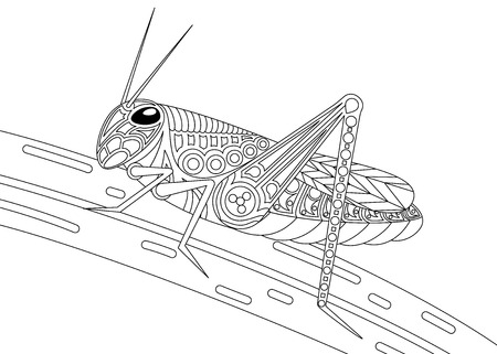 Monochrome grasshopper coloring page black over white.