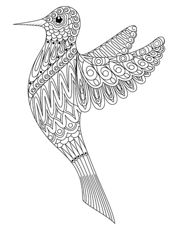 Adult coloring book a bird.
