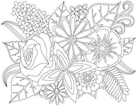 Floral doodle coloring page. Ilustracja