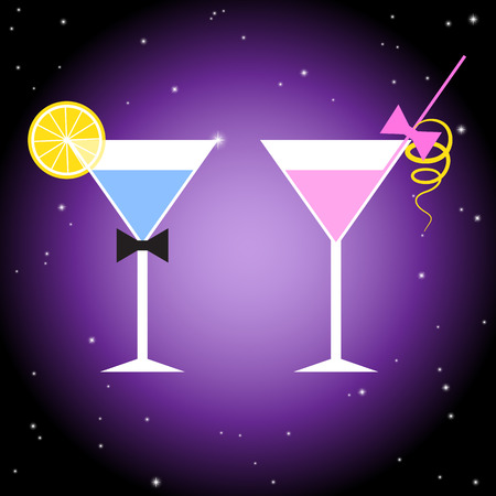 Pink and blue cocktails with violet background.
