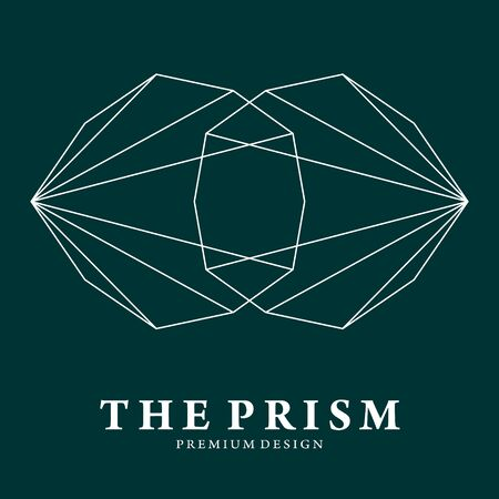 Illustration of glaring prism or diamonds in simple Line Art style, perfect for jewelry, boutique, luxurious thing, premium place, fashion and beauty, etc.