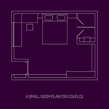 Illustration vector graphic of a small apartment room plan for couples in a trendy Line Art style - perfect for architecture and interior content, apartment, living, stay, etc.