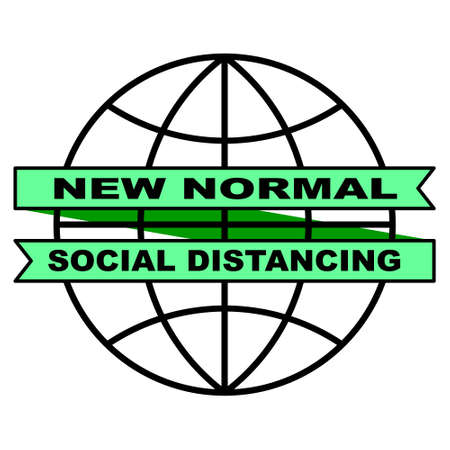 New Normal Ribbon Campaign is surrounding the Globe. Perfect for healthcare, sticker, poster, sign, hospitality, awareness, social distancing, prevention, lifestyle, etc. 写真素材 - 150634863