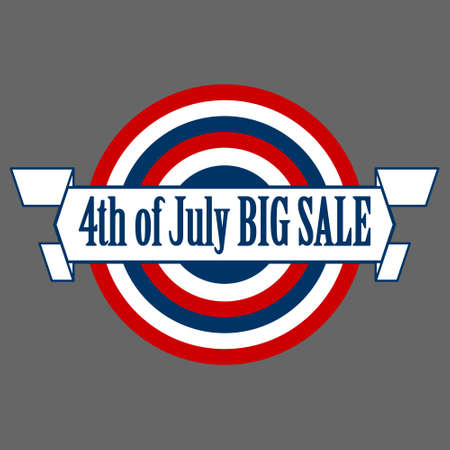 The 4th of July promotion and celebration badge in circle shape. Perfect for American, event, celebration, holiday, sale, history, etc.