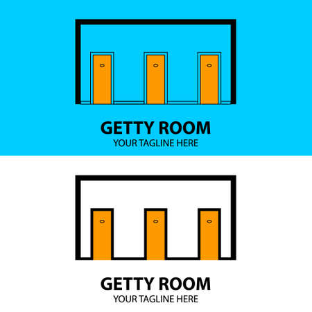 Vector design template of the three doors in a trendy flat design style. Perfect for hotel, motel, room rental, apartment, housing, etc.