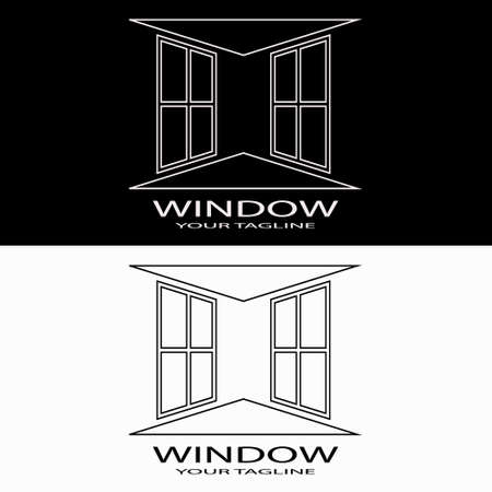 Vector design template of two windows in a Line Art style - perfect for architecture or interior company, aluminum, glass, supplier, etc.