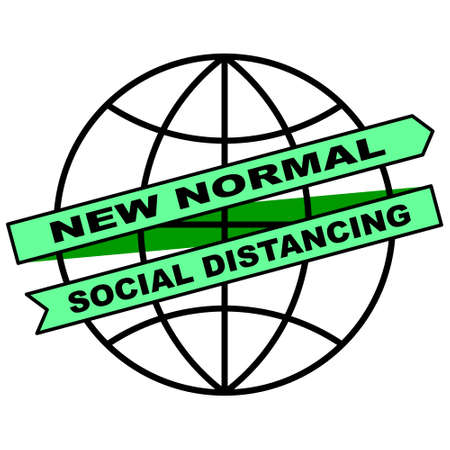 New Normal Ribbon Campaign is surrounding the Globe. Perfect for healthcare, sticker, poster, sign, hospitality, awareness, social distancing, prevention, lifestyle, etc. 写真素材 - 151072375