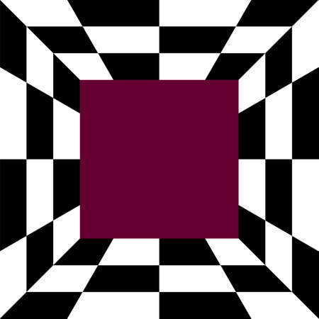 Black and white abstract checkerboard in square for background.
