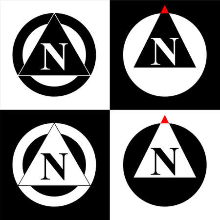 Illustration of North map direction sign and symbol. Set of 4 vector.designs in Eps 8.