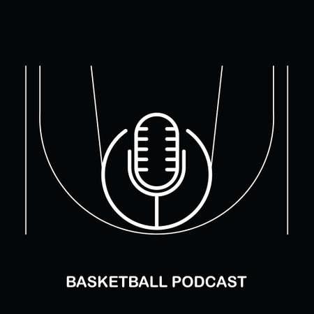 Basketball Podcast Sport Logo Design Isolated on A Black Background Logo
