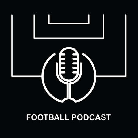 Football or Soccer Podcast Sport Logo Design Isolated on A Black Background