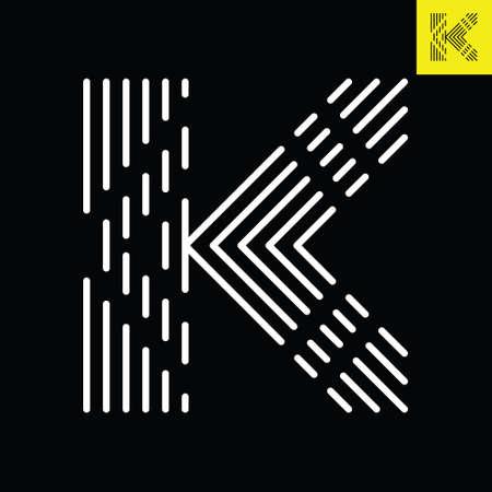 Letter K logo design in abstract line art style. Monogram vector logo