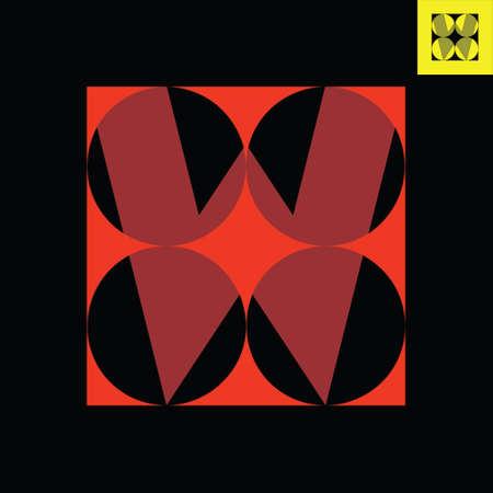 Letter W monogram logo design in Bauhaus art style. Vector logo in Eps 8.