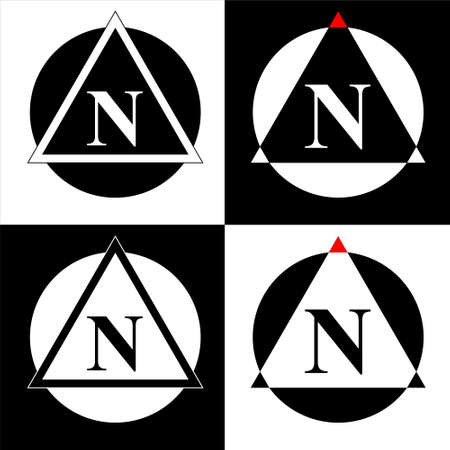 Illustration of North map direction sign and symbol. Set of 4 vector.