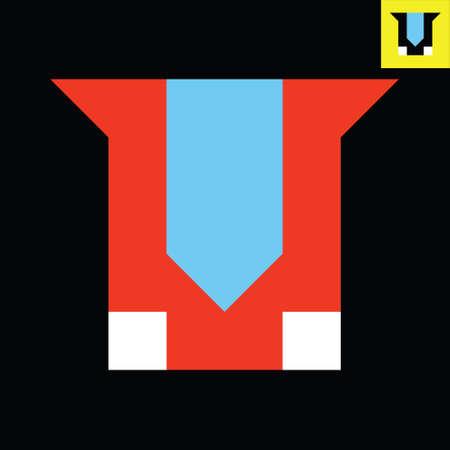 Letter V monogram logo design in Bauhaus art style.