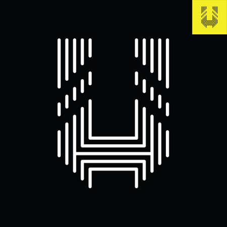 Letter U logo design in Stripes Line Art. Monogram vector logo in Eps 8.