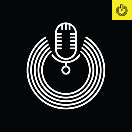 Podcast microphone with circular halos. Logo vector in line art style Logo