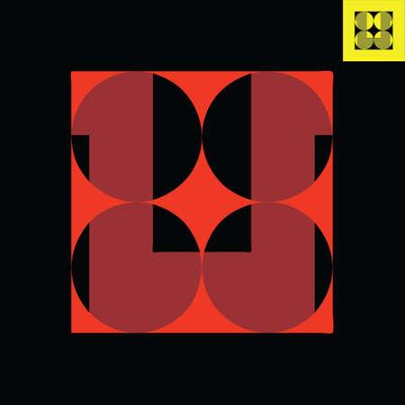 Letter U monogram logo design in Bauhaus art style.