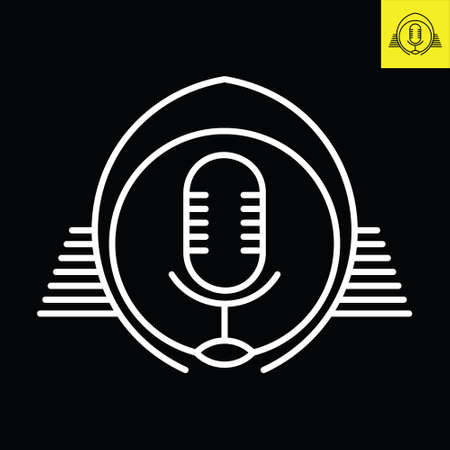 Podcast microphone with a pair of wings. Logo vector in line art style Logo