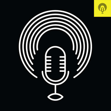 Podcast microphone with circular halos. Logo vector in line art style