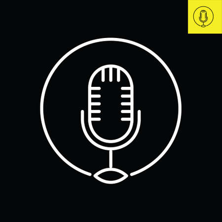 Podcast microphone with logo design in line art style, Vector logo Logo