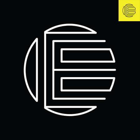 E Lettermark monogram round logo design in vintage art deco style. Vector logo in Eps 8.