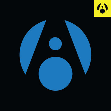 Letter A monogram round logo design in sphere art style. Circle vector logo in Eps 8.