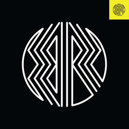 Letter B and R monogram round logo design in stripes line art style. Logos