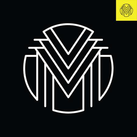 M Lettermark monogram round logo design in vintage art deco style. Vector logo