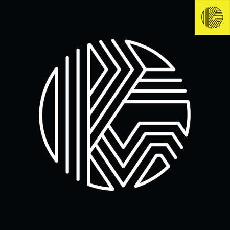 Letter P and G monogram round logo design in stripes line art style.
