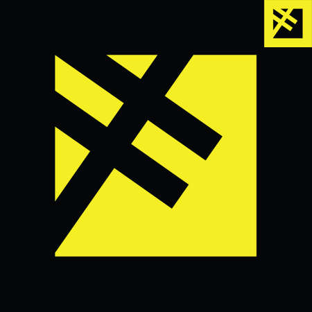 Letter F monogram logo design in a square Gestalt art style. Logos