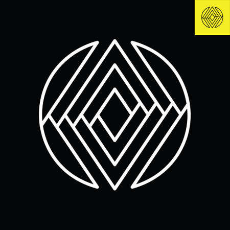 O Lettermark monogram round logo design in vintage art deco style. Vector logo