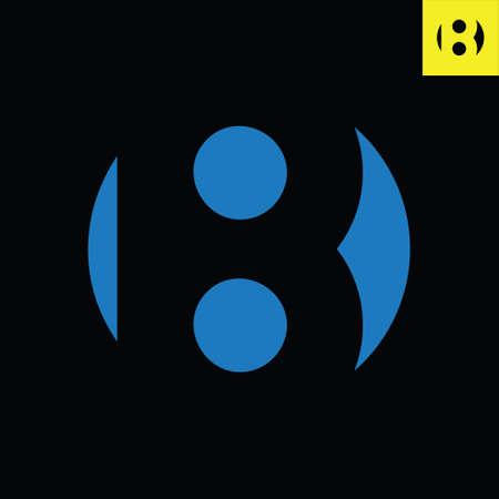 Letter B monogram round logo design in sphere art style. Circle vector logo